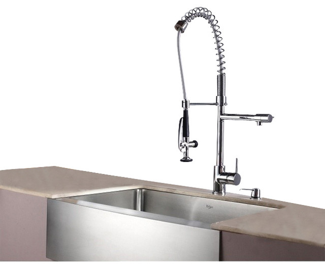 Stainless Steel Farmhouse Kitchen Sink Faucet Dispenser Contemporary Kitc