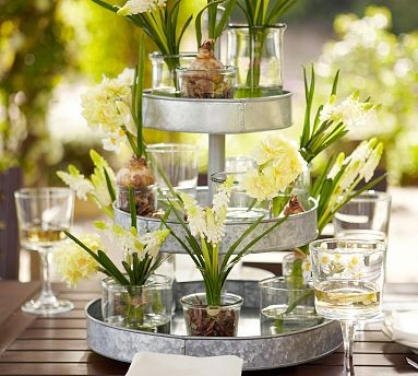 Galvanized Metal 3 Tier Stand Contemporary Serveware