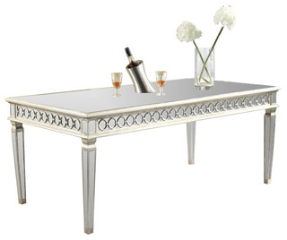 Audrey dining table by elegant lighting silver leaf for Traditional dining table uk