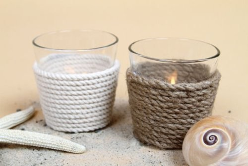 glass tea light candle holder with rope in white or brown modern home