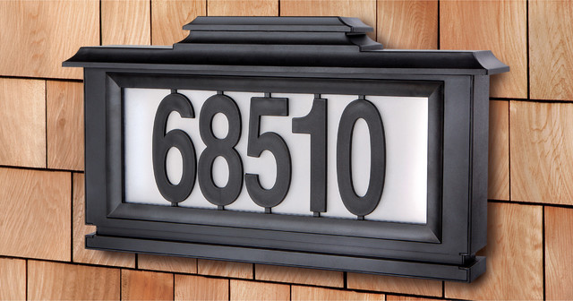 black series solar powered lighted address plaque contemporary house numbers by. Black Bedroom Furniture Sets. Home Design Ideas