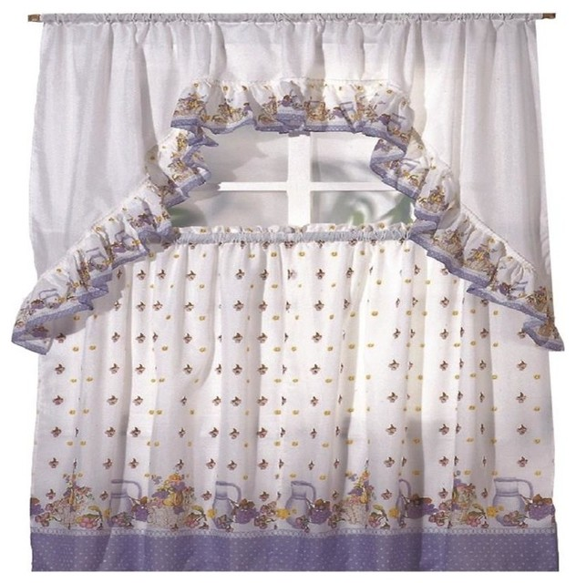 Pots And Fruits Printed Kitchen Curtain Swag Set Farmhouse Valances