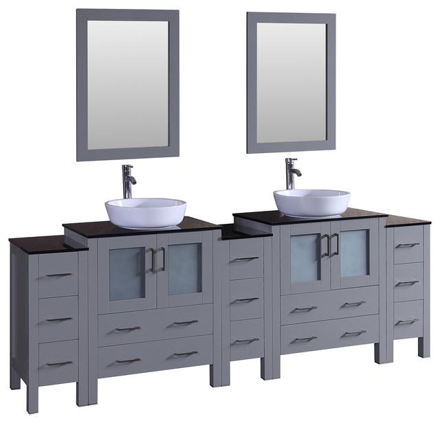 Bosconi Gray Double Vanity Bathroom Vanities And Sink Consoles