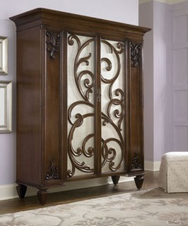 american drew 908 273 jessica mcclintock couture dressing armoire w castered sto traditional. Black Bedroom Furniture Sets. Home Design Ideas