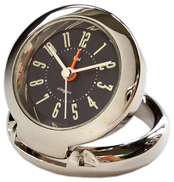 diecast solid metal travel alarm clock cyber black