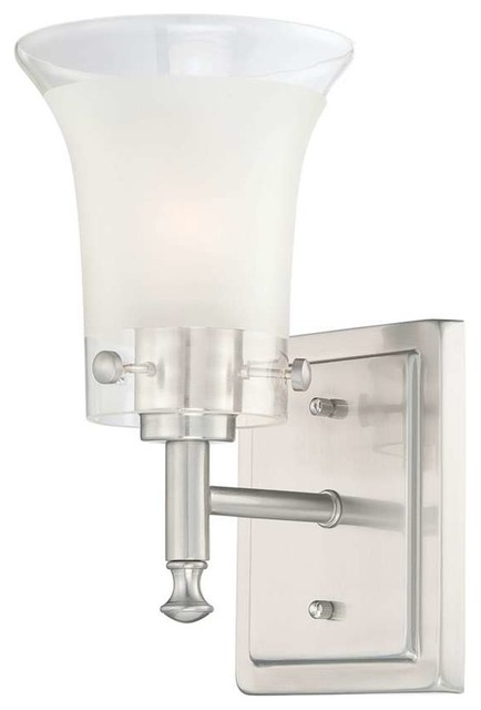 Clear Vanity Light Glass : Nuvo Patrone 1-Light Vanity Fixture with Clear and Frosted Glass - Transitional - Bathroom ...