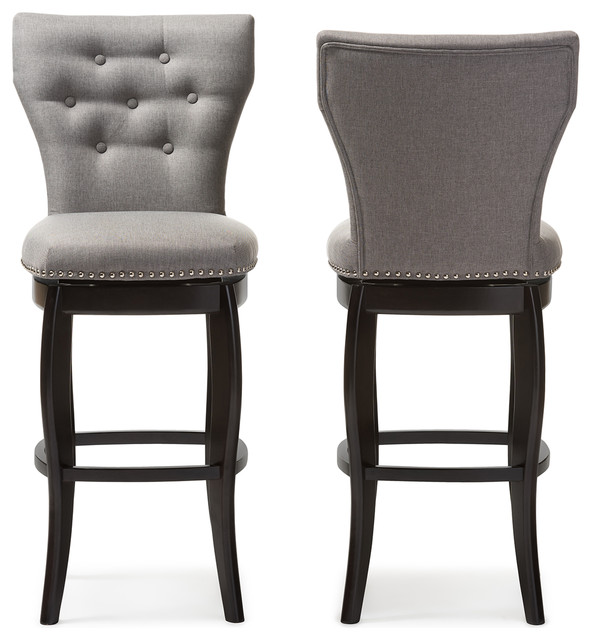 Leonice Fabric Button Tufted 29 Inch Swivel Bar Stool