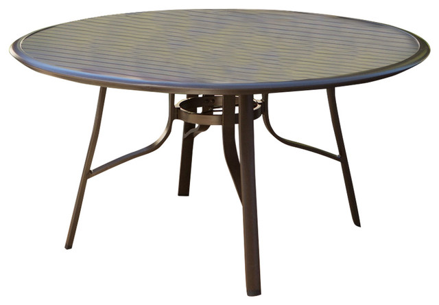 round 51 modern patio dining table with center umbrella