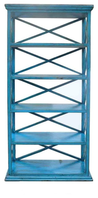 Rustic Wood Display Shelf Blue Beach Style Bookcases By Golden