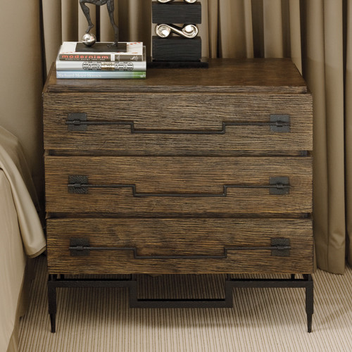 3 Drawer Wide Chest Dark Brushed Mango Miami By