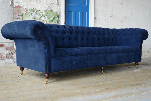 Handmade Bespoke 4 Seater Navy Blue Velvet Chesterfield