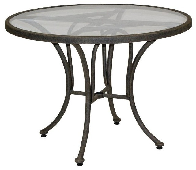 Landgrave acropolis cast aluminum 42 round tempered glass for Cast iron and glass dining table