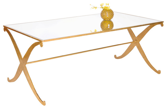 Worlds Away Gold Leaf Klysmos Coffee Table Fnctamkg Contemporary Coffee Tables By Benjamin