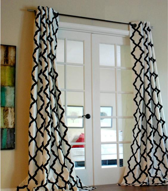 Trellis bold flocked curtain panel contemporary for Window trellis design