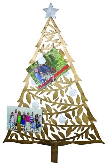 Christmas Card Wall Decor : Elegant quot gold tree holiday card holder metal wall art
