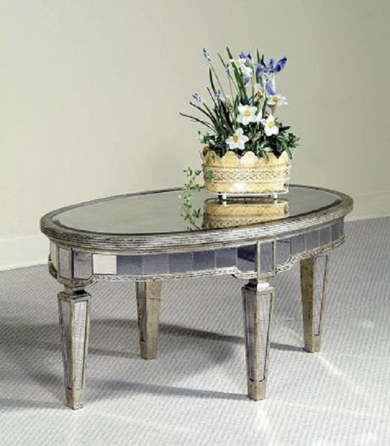 Bassett Mirror Borghese Oval Cocktail Table 8311 141 Traditional Coffee Tables Salt