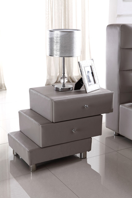 Full leather upholstered night stand modern for Modern bedside tables nightstands