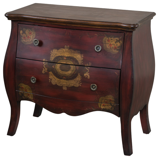 Truesdale Antique Red Wood 2-Drawer Cabinet traditional-accent-chests ...