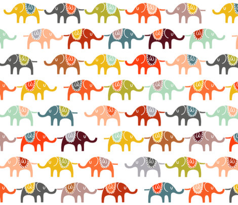 Elephant March Fabric Eclectic Fabric By Spoonflower