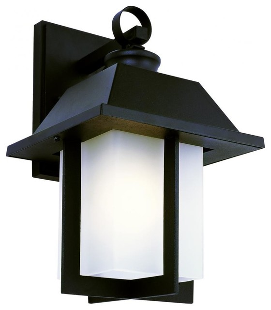 One Light Rust White Frosted Rectangle Glass Wall Lantern - Traditional - Outdoor Wall Lights ...