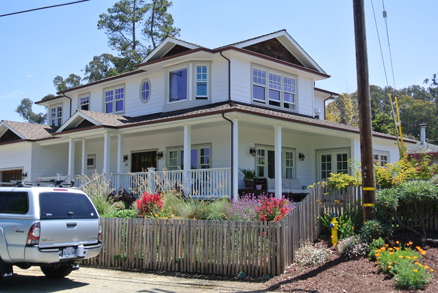 Exterior view of new two story home wrap around porch for Beach house designs with wrap around porch