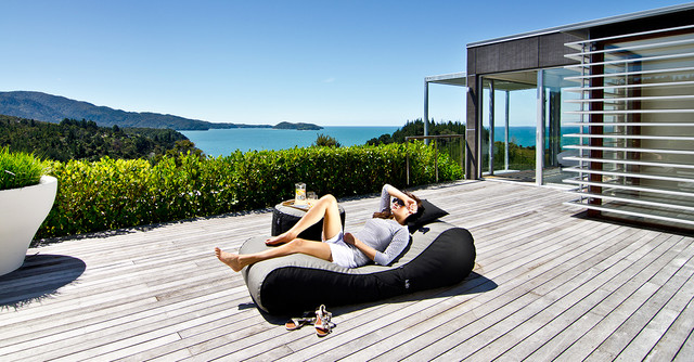 Lujo outdoor bean bag lounger charcoal tweed black for Bean bag chaise longue