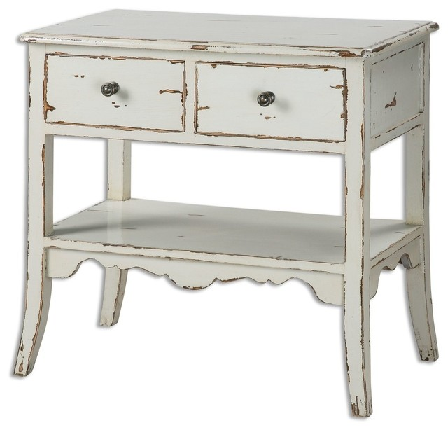 Cottage White Wood Accent Table