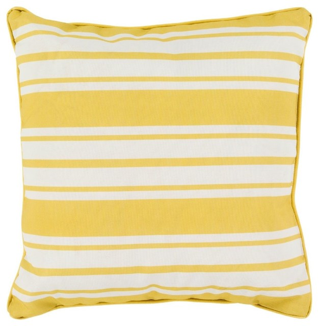 Solid/Striped Nautical Stripe Square Yellow Decorative Pillow - Modern - Decorative Pillows - by ...