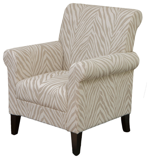 Percy Zebra Fabric Club Chair Contemporary Armchairs