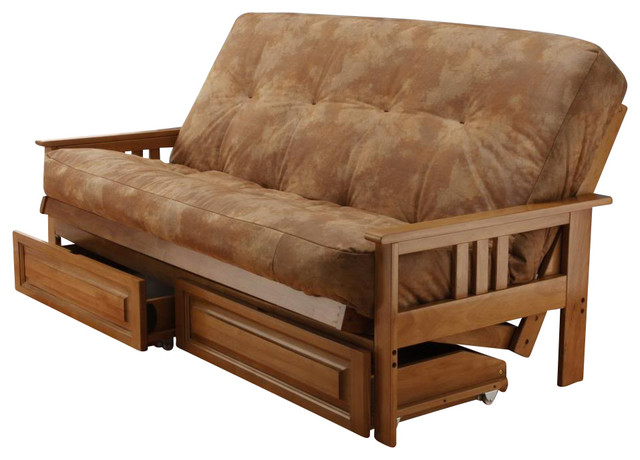 Andover full size futon sofa bed and drawer set honey oak for Wooden frame futon sofa bed