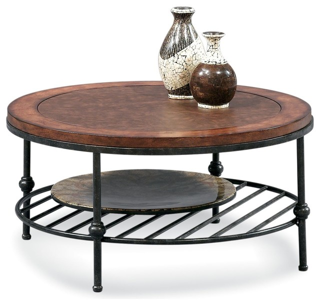 Bentley Round Cocktail Table Inset Leather Transitional Coffee Tables By Bassett Mirror Co