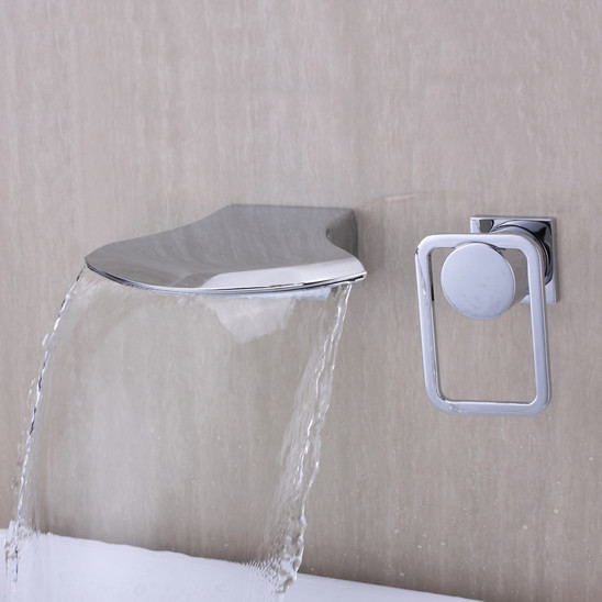 Contemporary Widespread Waterfall Bathroom Sink Tap Chrome T6035 Modern