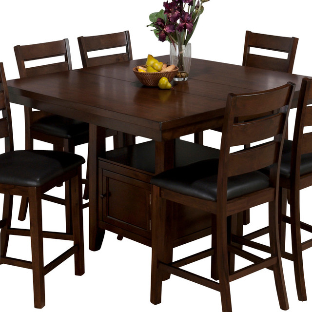 jofran 337 54 taylor butterfly leaf counter height table with storage base traditional. Black Bedroom Furniture Sets. Home Design Ideas