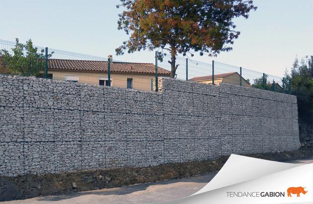 Mur de sout nement en gabion contemporain jardin for Mur de soutenement en gabion