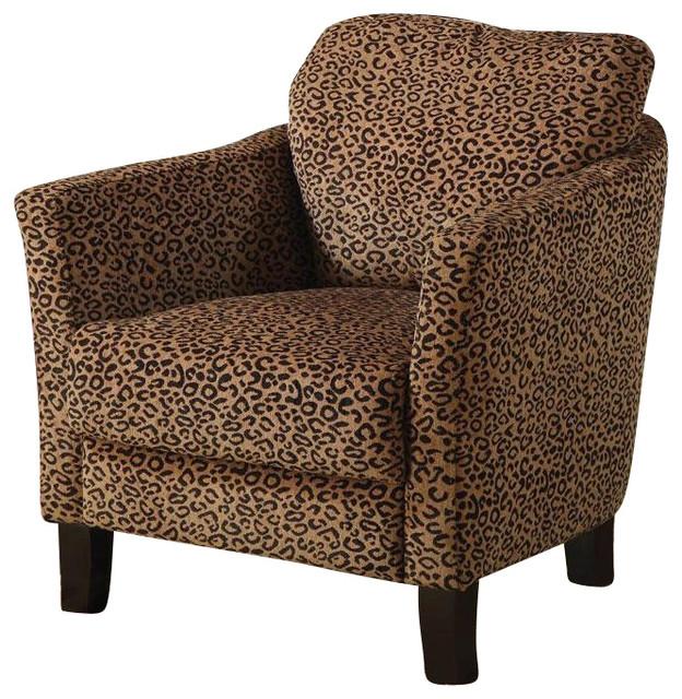 Coaster Club Chair in Cheetah Print Transitional