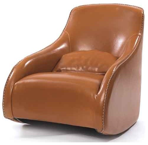 Brown Contemporary Style Baseball Glove Leather Chair