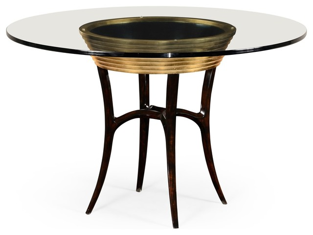 Antique Gold Leaf 48 Round Dining Table Transitional Dining Tables