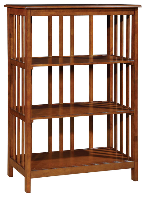 Mission Style Bookcase Oak Finish 3-Tier Wood Book Shelf - Traditional - Bookcases - by ADARN INC.