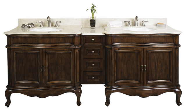 "Birch Wood-Veneer Vanity Set In Antique Cherry, 88""x22"