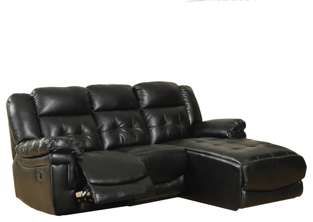 monarch specialties black bonded leather match reclining