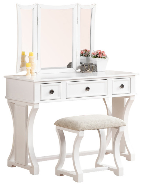 Curved Design 3 Panel Mirror Vanity With Stool Drawer