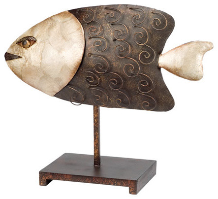 Brass Binnacle Metal Fish Sculpture On Stand Decorative Objects And