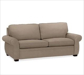 Sleeper Sofa, Down-Blend Wrap Cushions, Performance Tweed Gra ...