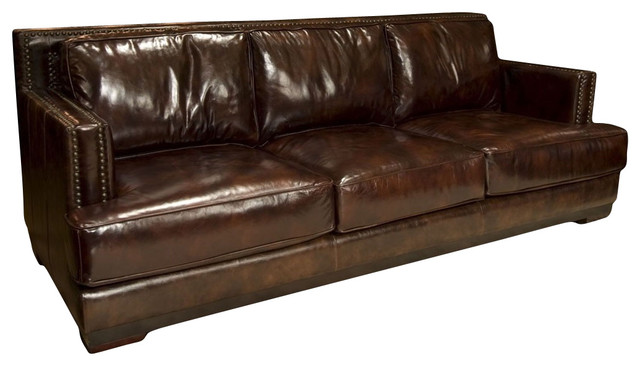 dark brown leather sofa with nailheads classique chic. Black Bedroom Furniture Sets. Home Design Ideas