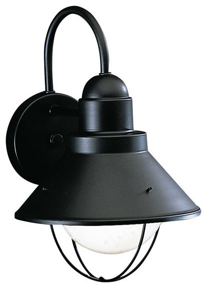 Kichler 1 Light Outdoor Fixture Black Exterior Beach Style Outdoor Wall Lights And Sconces
