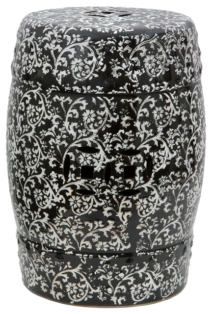 18 black and white floral porcelain garden stool