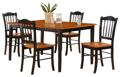 boraam shaker 5 piece dining set in black oak modern dining sets