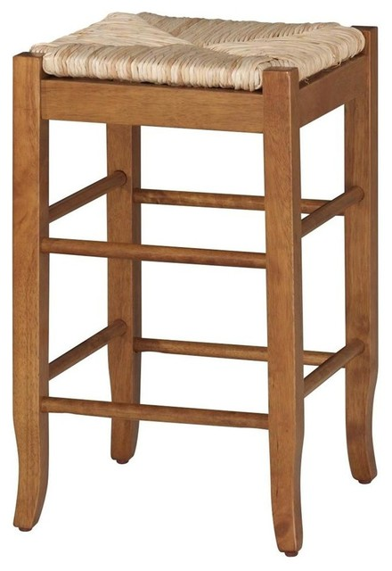 Hardwood Counter Stool W Hand Woven Rush Seat