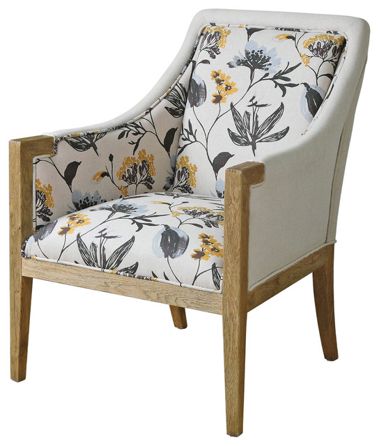 Floral upholstered oak arm chair traditional living room chairs