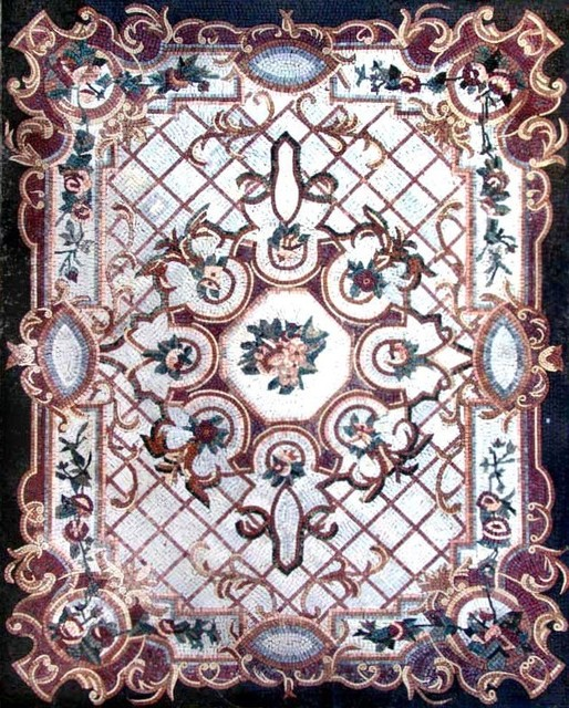 Floral Marble Mosaic Floor Carpet Tiles 94x118 Mosaic Tile By